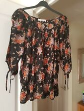 Super BHS Black Mix Floral Top, Hippy/Boho, Boat Neck, 3/4 Sleeves, Size 12, GC