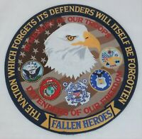 """Large 12"""" Fallen Heroes Defenders of Freedom Patch In Memory of Our Troops NEW"""