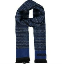 MISSONI Men's Tonal Double Face Zig-Zag Blue Scarf