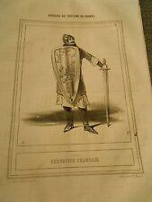 Caricature 1843 - Costume en France Chevalier Francais Bouclier épée