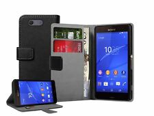 Wallet BLACK Leather Mobile Phone Accessories For Sony Xperia Z3 COMPACT experia