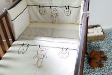 Lollipop Lane Out To Dry Teddy Bear Cot Bumper Cream & Mocha Brown 35 x 155cm