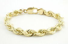 """10k Yellow Gold Real Italy 7mm Hollow Diamond Cut Rope Chain Link Bracelet 8.5"""""""