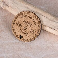 Personalised Engraved Rustic Wooden Round Save The Date Fridge Magnets Invites
