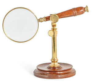 Hands Free Magnifier Magnifying Glass w/ Brass & Wood Stand 3x Reading Device