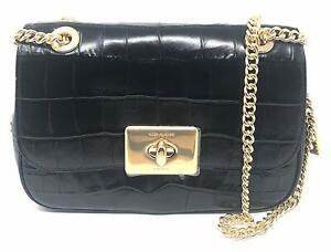 Coach Women's Cassidy Crocodile Embossed Leather Crossbody Bag - Black/Gold