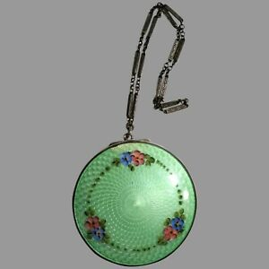 Vintage Antique Sterling Silver & Gold Compact Green Guilloche