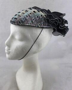 SONNI SAN FRANCISCO VINTAGE Metallic Rainbow Lurex Black Ruffle Skull Cap Hat