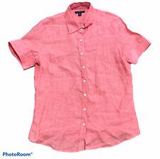 Woman's LANDS' END Pink 100% Linen Short Sleeve Button Up Blouse Size Medium M