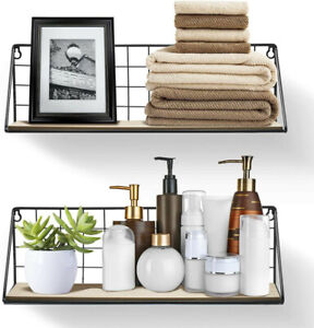 Pack 2 Floating Shelves Wall Mounted Wire Metal Wood Storage Shelf Large Small