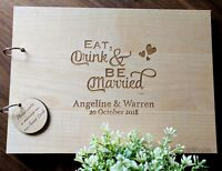 "Personalised ""Eat Drink be Married "" Wedding  (Customise Wooden) Guest Book"
