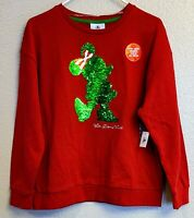 Disney Parks Minnie Mouse Flip Sequin Holiday Christmas Sweatshirt Womens Large