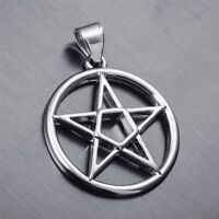 Men's Pentacle Pentagram Star Silver Tone Pewter Pendant Free Necklace PP#297