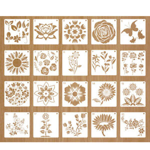 20x Flower Stencil Kit Reusable Stencils for Painting on Wood Wall Fabric Can YH