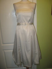 VILA FITS A UK SIZE 10 LADIES SILKY IVORY & FAWN SPOTTED STRAPLESS SUMMER DRESS
