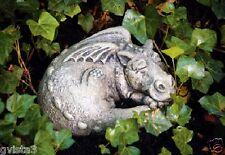 Little Darling Dragon 'Snooze' -cast stone-baby animal garden statue-sleeping
