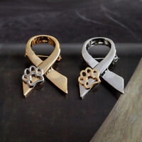 Cute Jewelry Gold/Silver Animal Cat Dog Hollow Paw Print Ribbon Brooch Pin New