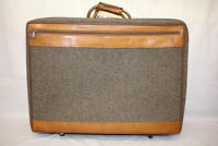 "Vintage HARTMANN Brown Tweed Leather Belting Full-Size Suitcase Luggage 24""X18"""
