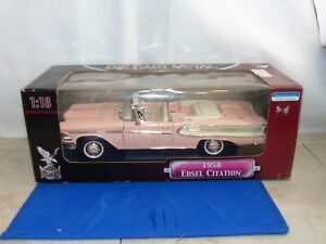 Road Signature 1958 Edsel Citation Diecast Scale 1:18 Pink Convertible Deluxe