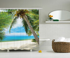 Ocean Decor Shade Coconut Palm Tree Sand View Picture Extra Long Shower Curtain