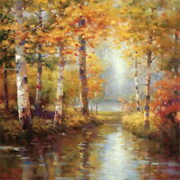 "30W""x30H"" FOREST LAKE by STEPHEN DOUGLAS - AUTUMN FALL STREAM REFLECTIONS CANVAS"