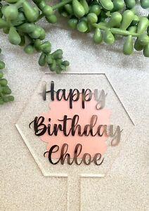 Hexagonal Personalised Acrylic Cake Topper..your Choice Of Wording And Colour