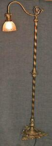 Antique Barley Twist Bridge Floor Lamp Swallow Bird Finial Heraldry Tripod Base