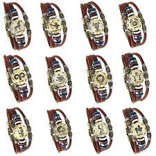 Leather horoscope zodiac birth sign wristband bracelet wood beads spacers
