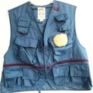 Sportline USA-Mens Full Zip, 10 Pocket Fly Fishing Vest, Extra Large-XL, Blue
