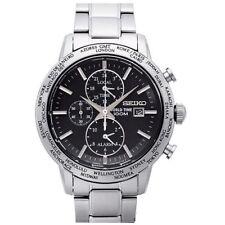Seiko SPL049 P1 Black Dial Stainless Steel World Time Alarm Men's Analog Watch