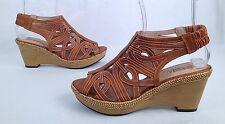 New!! Pikolinos Leather Lazer Cutout Slingbacks Wedge Sandals- Size 10 US  (P30)