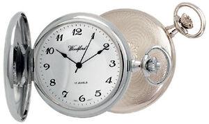 Pocket Watch & Chain Woodford Arabic Full Hunter Chrome Plated Mechanical 1027