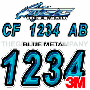 BLUEMETAL Custom Boat Registration Numbers Decals Vinyl Lettering Stickers
