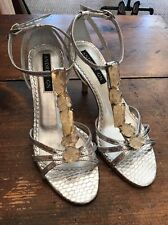 ANDREW GN Silver Snakeskin Embossed Chunky Stone T Strap Heels 36/6