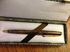 VINTAGE CHINESE CLOISONNE ENAMEL BROWN BALLPOINT PEN WITH BROCADE CLOTH BOX