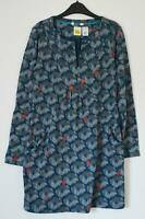 NEW EX WHITE STUFF FOREST FERN UK 8 10 TEAL GREY FLORAL PRINT TUNIC TOP
