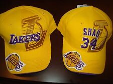 LOS ANGELES LAKERS SHAQ #34 VINTAGE 2- HATS LOT  HAT CAP ADJUSTABLE  STRAPBACK