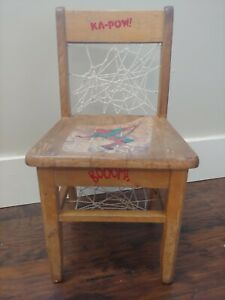 CUSTOM FOLK ART ORIGINAL UNIQUE VINTAGE CRAFT SPIDERMAN KIDS SOLID WOOD CHAIR!
