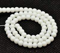 Edelstein Naturstein Perlen Halbedelstein 10mm Opak Weißer Jade Kugel 32Stk G228