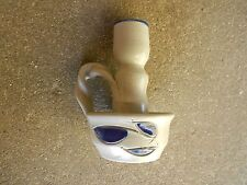 Williamsburg Stoneware Pottery Primitive CANDLE HOLDER w Cobalt Blue Leaf