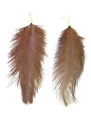 Gold Brown Ostrich Feather Earrings Drop Long Big Hook Boho Dangle Festival 871