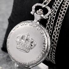 Retro Vintage Quartz Sliver Pendant Chain Necklace Men Lady Gift Pocket Watches