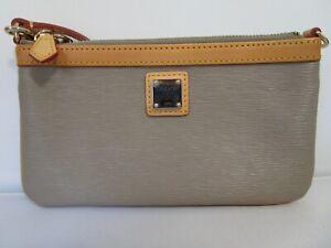Dooney & Bourke Gray Acrylic W/ Tan Leather Trim Large Slim Wristlet