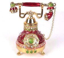 "Telephone Trinket Box in Red w/ Gold Tone Metallic & Rhinestones 4.5""H New"
