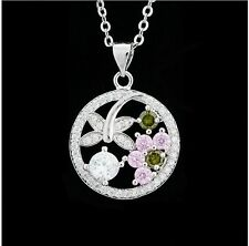 Lady Emerald Pink Clear CZ Sterling Silver Chain Dragonfly Pendant Necklace P06