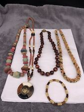 Jewelry Necklaces And Bracelet Lot Of Vintage Wooden Bead