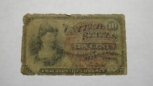 1863 $.10 Fourth Issue Fractional Currency Obsolete Bank Note Bill! 4th RARE