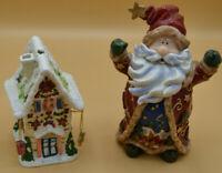 Weihnachtlicher Teelichthalter + Weihnachtsmannfigur, 2 tlg., freistehend