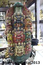 "39""  Tibet Buddhism Temple Old Wood Paint Nine Dragon Mahakala Buddha Head Statu"
