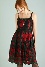 Rose Embroidered Midi Lace Dress